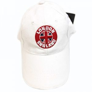 Kids White London England Union Flag Cap