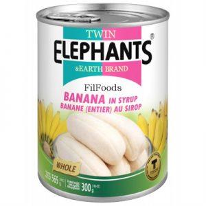 Twin Elephants Banana in Syrup 565g